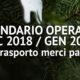 Calendario Operativo Dicembre -Gennaio Servizio Trasporto Merci Palletizzate